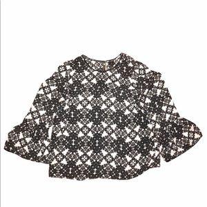 Worthington 1X black white floral lace long blouse